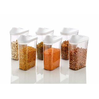 Teneza 6 Pcs Easy Flow Kitchen Plastic Container Set For Cereals, Rice, Pulses(1100Ml, Clear)