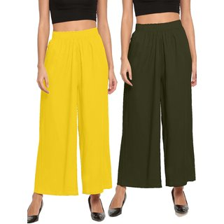 The Moon Impex Women'S Rayon Flared Palazzo (Light Yellow & Mehandi Green, Pack Of 2)