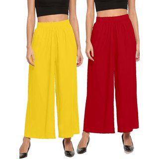 The Moon Impex Women'S Rayon Flared Palazzo (Light Yellow & Maroon, Pack Of 2)