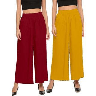 The Moon Impex Women'S Rayon Flared Palazzo (Maroon & Mustard Yellow, Pack Of 2)