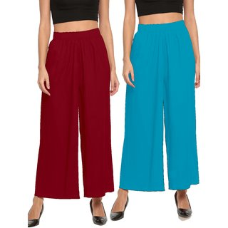 The Moon Impex Women'S Rayon Flared Palazzo (Maroon & Light Blue, Pack Of 2)