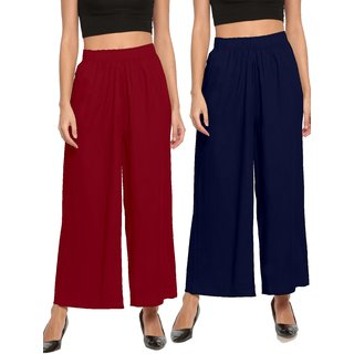 The Moon Impex Women'S Rayon Flared Palazzo (Maroon & Navy Blue, Pack Of 2)