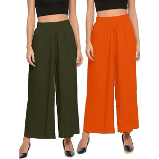 The Moon Impex Women'S Rayon Flared Palazzo (Mehandi Green & Orange, Pack Of 2)