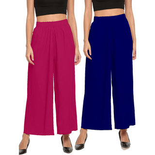 The Moon Impex Women'S Rayon Flared Palazzo (Pink & Royal Blue, Pack Of 2)