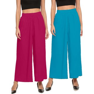 The Moon Impex Women'S Rayon Flared Palazzo (Pink & Light Blue, Pack Of 2)