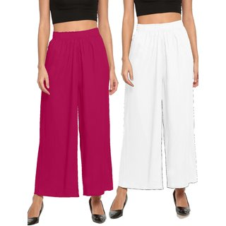 The Moon Impex Women'S Rayon Flared Palazzo (Pink & White, Pack Of 2)