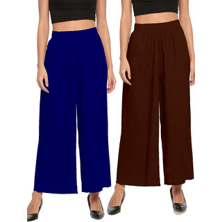 The Moon Impex Women'S Rayon Flared Palazzo (Royal Blue & Coffee, Pack Of 2)
