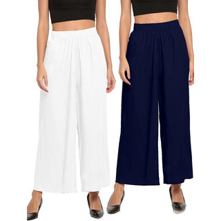 The Moon Impex Women'S Rayon Flared Palazzo (White & Navy Blue, Pack Of 2)