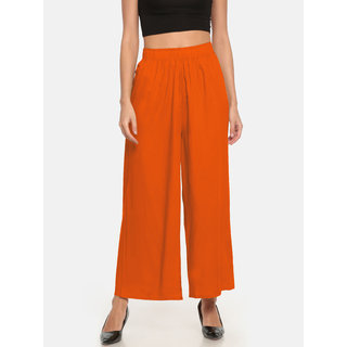 The Moon Impex Women'S Rayon Flared Palazzo (Orange)