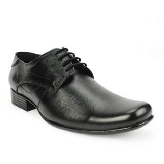 Avanthier Genuine Leather Black Formal Shoes With Pu Sole