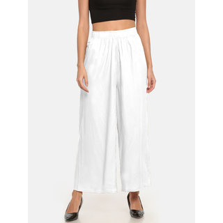 The Moon Impex Women'S Rayon Flared Palazzo (White)