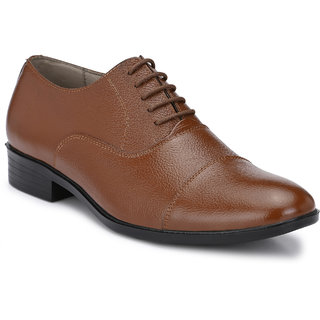 Avanthier Genuine Leather Tan Formal Shoes With Pu Sole