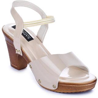 Sapatos Women Casualwear Cream Color Ankle Strap Block Heel Sandals