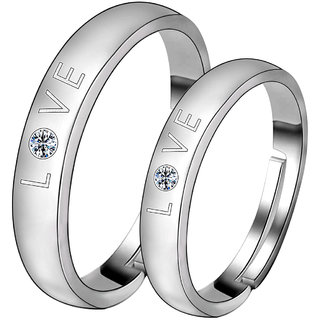 Silvershine Silverplated Ideal Solitaire Love His And Her Adjustable Proposal Couple Ring For Men And Women Jewellery