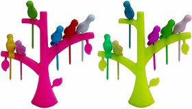 Teneza Plastic Bird Fruit Forks (Multicolour, Medium) - Set Of 2