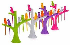 Teneza Plastic Bird Fruit Forks (Multicolour, Medium) - Set Of 4