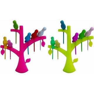 Teneza Plastic Bird Fruit Forks (Multicolour, Medium) - Set Of 2