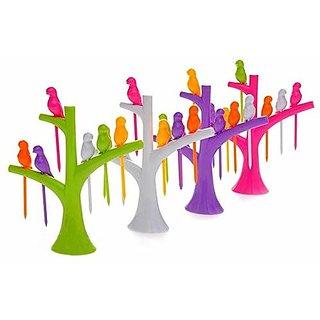 Teneza Plastic Bird Fruit Forks  Multicolour, Medium    Set Of 4