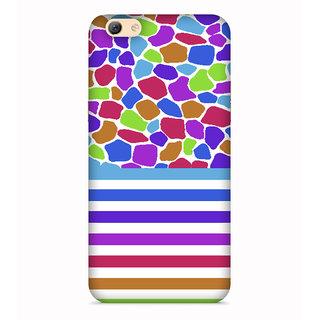 Printvisa Colorful Colourful Stripes Strips Spots Patterns Design Designer Printed Hard Back Case For Oppo A83 - Multicolor