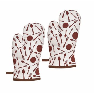 Snowpearl 100 Cotton Heat Proof Microwave Oven Gloves (Pack Of 2)