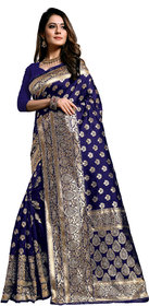 Aadyaa Creation Banarasi Cottan Silk Saree With Blouse (Blue)
