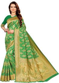 Aadyaa Creation Banarasi Cottan Silk Saree With Blouse (Green)