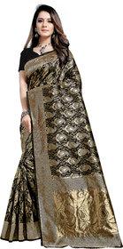 Aadyaa Creation Banarasi Cottan Silk Saree With Blouse (Black)