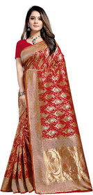 Aadyaa Creation Banarasi Cottan Silk Saree With Blouse (Red)