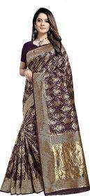 Aadyaa Creation Banarasi Cottan Silk Saree With Blouse (Purple)