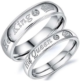 Men Style Her King His Queen Crown Crystal Proposal Adjustable Silver Stainless Steel Ring