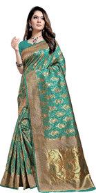 Aadyaa Creation Banarasi Cottan Silk Saree With Blouse (Rama Green)