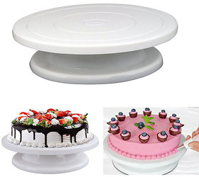 Gayatri1Pc White 28Cm Plastic Cake Turntable Rotating Cake Decorating Plate Rotary Table Baking Tools
