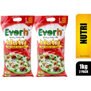Everin Nutri High Protein And Healthy Soya Chunks Combo Pack Of 2 (1Kg Each)