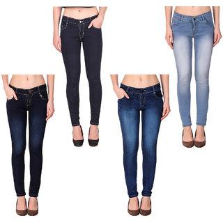K-Tex Women's Slim Fit Jeans (Pack Of 4)