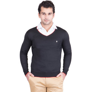 Ketex Men's Black Plain Sweaters