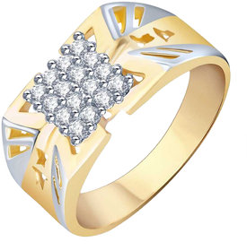 Sukai Jewels Descent Ring Gold Plated Alloy & Brass Cubic Zirconia Finger Ring For Men