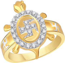 Sukai Jewels Swastk Tortoise Gold Plated Alloy & Brass Cubic Zirconia Finger Ring For Men