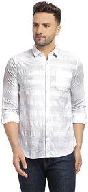 Cape Canary Men's White Striped Cotton Shirt