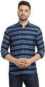 Cape Canary Men's Blue Striped Button-Down Cotton Shirt