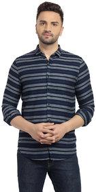 Cape Canary Men's Grey Striped Button-Down Cotton Shirt