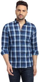 Cape Canary Men's Blue Checkered Button-Down Shirt
