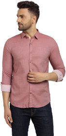 Cape Canary Men's Pink Cotton Full Sleeves Shirt