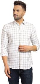 Cape Canary Men's Grey Checkered Regular Fit Shirt