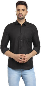 Cape Canary Men's Black Printed Regular-Fit Shirt