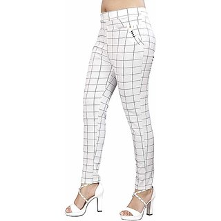 Women Women Check Pant Formals/Casual Stretchable - 26-32 Inch Waist White