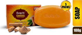 Everin Natural Detoxifying Cleansing Moisturizing Soap With Sandalwood Extracts For All Skin Types (Pack Of 5, 100G Each)