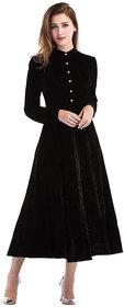 Vivient Women Black Buttoned Velvet Dress
