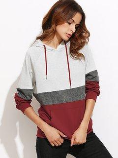Raglan sleeve pocket hoodie by Vivient Women's - Grey/Red
