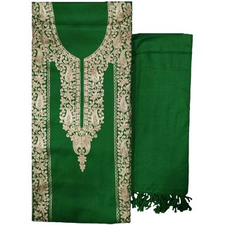 Varun Cloth House Womens Woollen Kashmiri Embroidery Salwar Suit Material (Vch7377, Green, Free Size)
