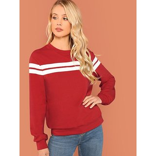 Vivient Women's Red Striped Tunic Pullover